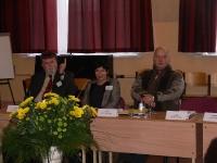 Konferences dalībnieki - LLU prorektors A.Mugurēvičs, LIZDA priekšsēdētāja  I.Mikiško, RTK direktors J.Rozenblats